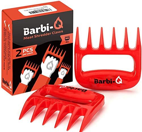 Barbi-Q Par de Garras de Carne para Barbacoa Parrilla Ahumador | Tenedores para Carne Ahumado | Trituradora Garras de Oso para Cerdo Tirado (Rojo)