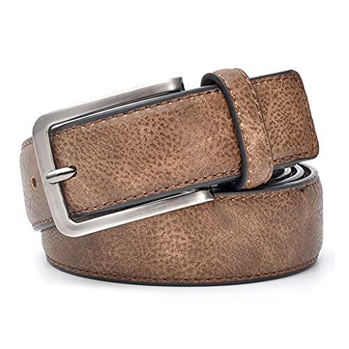 GWYUQG Accesorios para hombres y caballeros, cinturón de cuero, cintura para pantalones, elegantes cinturones casuales para hombres con color marrón (color: marrón, tamaño: 100 cm)