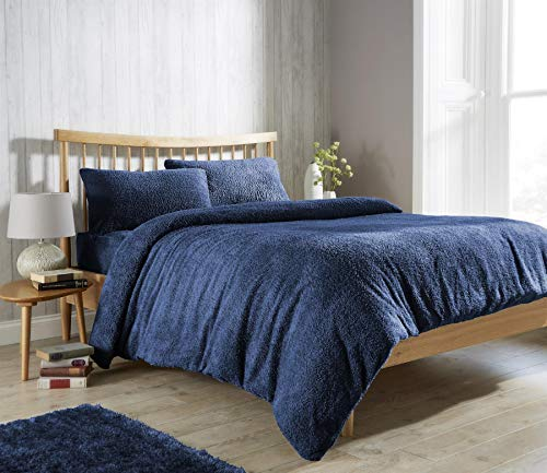 Olivia Rocco Teddy Fleece Duvet Cover Set Super Soft Warm Cosy Quilt Covers Bedding Sets With Pillowcases, Navy Single