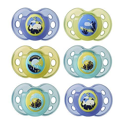 Tommee Tippee im Dunkeln leuchtender Beruhigungssauger für die Nacht, symmetrische kiefergerechte Form, BPA-freies Silikon, 18-36m, 6er Pack, mehrfarbig