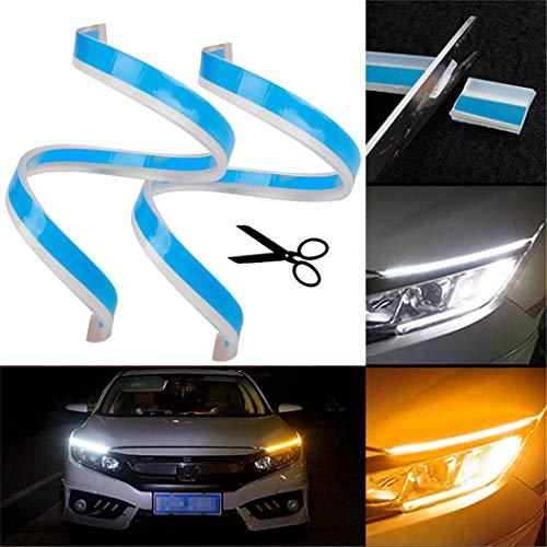 UNHO 2PCS Luces de Circulación Diurna Universal y Impermeable Tiras de Luces LED DRL 12V para Coche Tira del Faro Delantero 60cm Azul-Amarillo