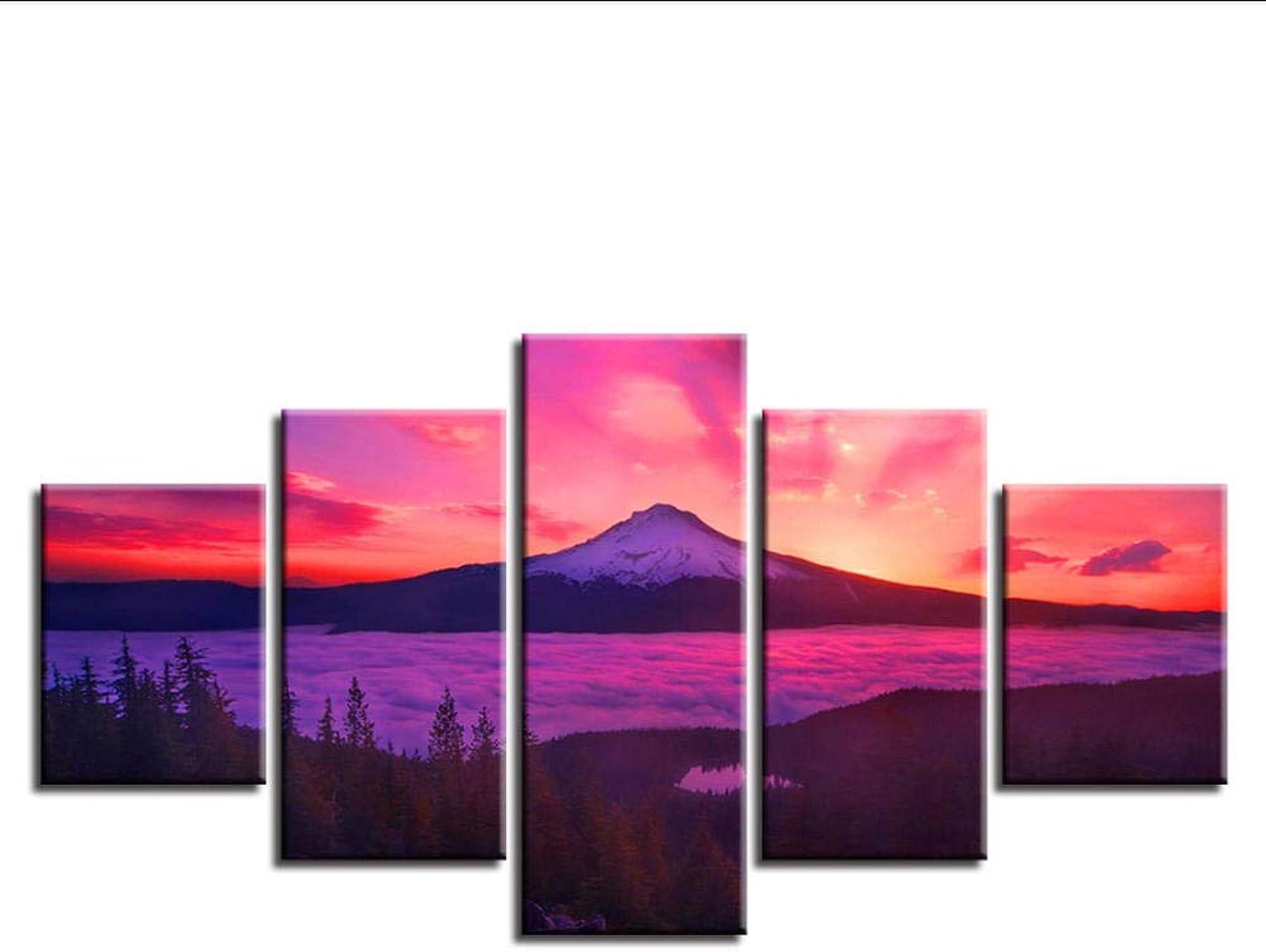 Wsxxnhh Cuadro En Lienzo Tejido No Tejido Moderno 5 Piezas Amanecer Nieve Montaña Paisaje Lienzo Pintura HD Imprime Póster-con Marco