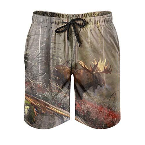Dessionop Bañador para hombre, diseño de alce, acuarela, bosque, pintura, ropa deportiva con forro de bolsillo, secado rápido, color blanco, 6XL