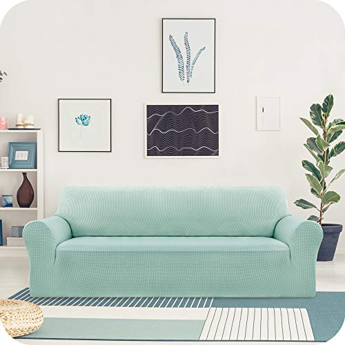 UMI. by Amazon Funda Elastica para Sofa Ajustable 3 Plazas Verde Claro