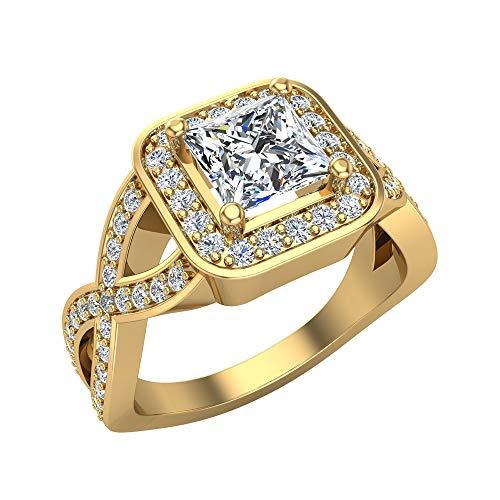 Anillo de compromiso de oro amarillo de 18 quilates con halo cuadrado de diamante