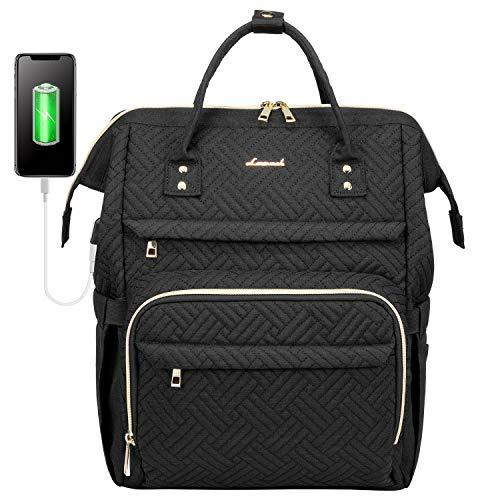 LOVEVOOK Laptop Rucksack Damen 17 Zoll, Schulrucksack Daypack wasserdichte, Business Rucksäcke mit Laptopfach und Anti-Diebstahl Tasche, für Reisen Herren, Schwarz