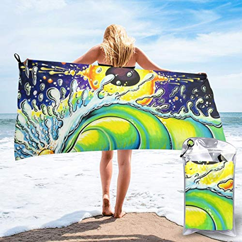 """HIUTORBF Vintage Surf Art Quick Dry Towel Camping with Zipper Bag for Sunbathing Best Beach Towels for Travel Sand Proof 31.5""""X63"""""""