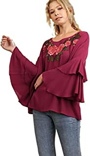Floral Embroidered Boat Neck Top with Layered Bell Sleeves