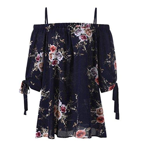 VEMOW Sommer Elegante Damen Mädchen Frauen Plus Größe Blumendruck Slash Neck Kalte Schulter Hailf Sleeve Bluse Casual Tops Camis Pullover Tees (Marine, 52 DE / 5XL CN)