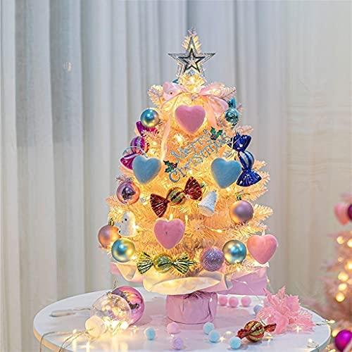 BNHY Pink Christmas Tree Led Lights Foldable Decoration Xmas Pine Tree Metal Stand Detachable Mini Home 0.6 M 1123