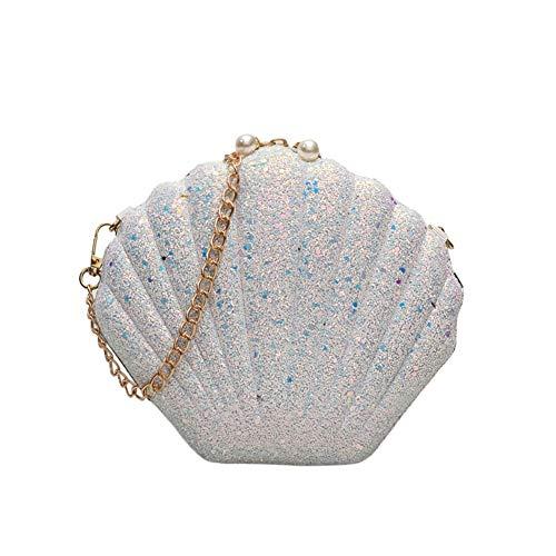 Aesyorg Schultertasche aus Pailletten in Muschelform Kette Diagonale kleine quadratische Tasche Handtasche Handtasche
