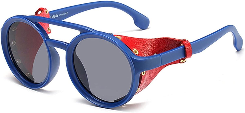 NBJSL Hombres Gafas Gafas de sol Mujeres Retro Sombras Moda Cuero con protectores laterales Estilo Gafas de sol redondas Uv400 (Exquisita caja de embalaje)