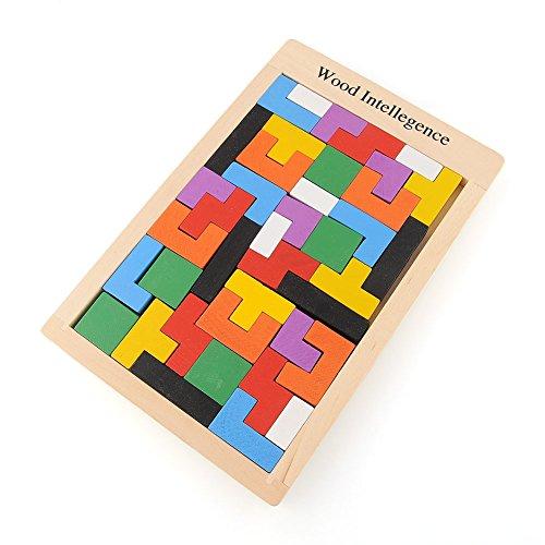 BSD Channel Casse-tête Tangram en Bois - Tetris - Jouet en Bois Montessori
