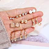 Haloty 9 Pairs Boho Crystal Earring Set Gold Pearl Cute Hoop Stud Beaded Cartilage Earrings Jewelry Sparkling Dainty Ear Accessories for Women and Girls