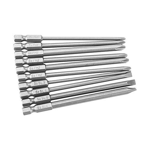 10 stücke Phillips Und Flachkopf Schraubendreher Bits Set S2 Stahl Magnetic Hex Schaft PH1 PH2 Slot Schraubendreher Bits Set 1/4 inch 100mm<br/>