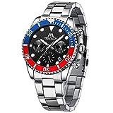 MEGALITH Reloj Hombre Plata Acero Inoxidable Reloj de Pulsera Cronógrafo Deportivos Militares Relojes Hombre...
