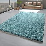 Alfombra para salón, color turquesa y azul, pelo largo, suave, resistente, fácil de limpiar, tamaño: 230 x 320 cm