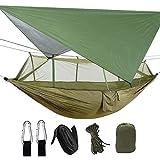 LYMUP Hamacas, hamaca para 2 personas con mosquitero, impermeable, ligera, portátil, para senderismo, viajes al aire libre, cómodo