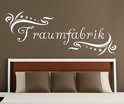 Wandtattoo Traumfabrik Spruch Traum Aufkleber Schlafzimmer Kinderzimmer 1D179, Farbe:Lindgrün glanz;Motiv Länge:55cm
