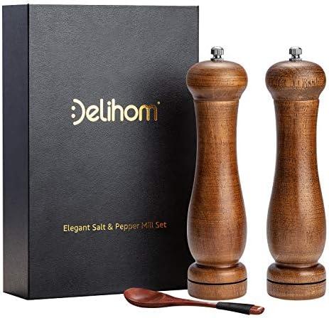 Delihom Salt and Pepper Grinder Set Premium Oak 8 inch Antique Wooden Salt and Pepper Mill Set product image