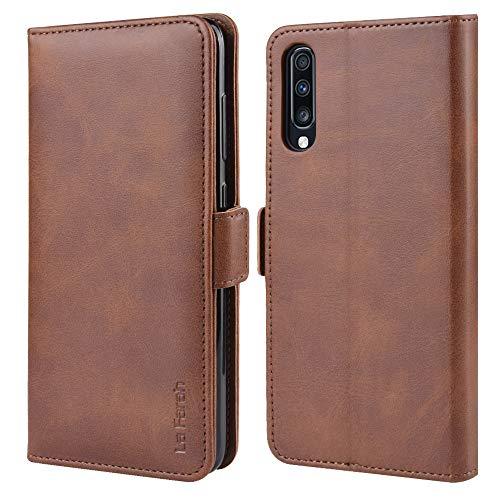 La Farah Handyhülle für Samsung Galaxy A70 Hülle, Leder Flip Schutzhülle für Samsung Galaxy A70 Tasche, Vintage Braun
