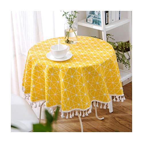 Qiao Jin & tafelkleden, rond, modern, pastoral, eettafel, tafel, stof, tafelkleden, geel/grijs