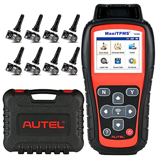Autel MaxiTPMS TS508 [con 8 433MHz MX-sensori in Gomma, Valore €240], 2021 TPMS Strumento di Riapprendimento, Aggiornamento di TS501, Programma MX-Sensore, Attivazione/Riapprendimento Sensori