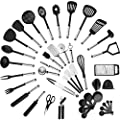 Klee Deluxe 42-Piece Heat-Resistant Stainless Steel and Nylon Kitchen Utensil Set (Black) by