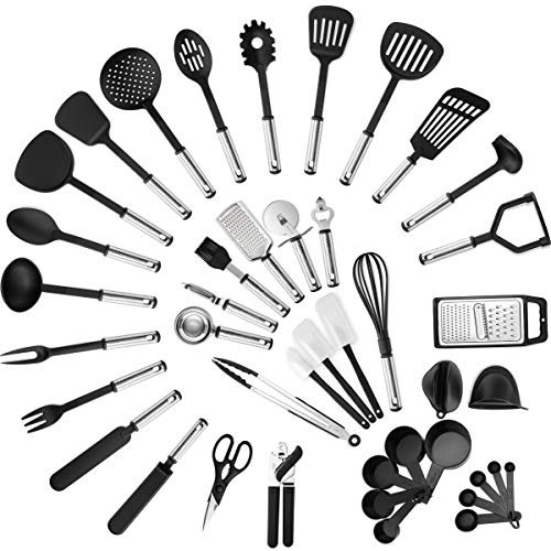 Klee Deluxe 42-Piece Heat-Resistant Stainless Steel and Nylon Kitchen Utensil Set (Black)