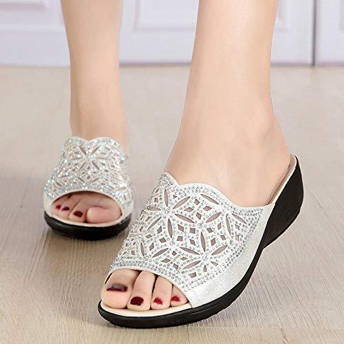 YYFF Chanclas Sandalias,Zapatillas cómodas y Transpirables,Sandalias de Malla con tacón de cuña-Silver_35,Sandalias de Dedo Cómodas para Hombres