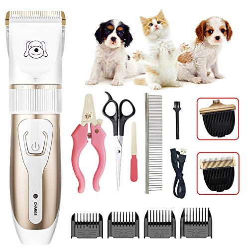 WYQWANLJX Dog Clippers Cordless Pet Hair Trimmer Rechargeable Pet Grooming Tool Professional Low Noise Dog Grooming Kit with Scissors Comb Best Hair Clipper for Dogs Cats Pets
