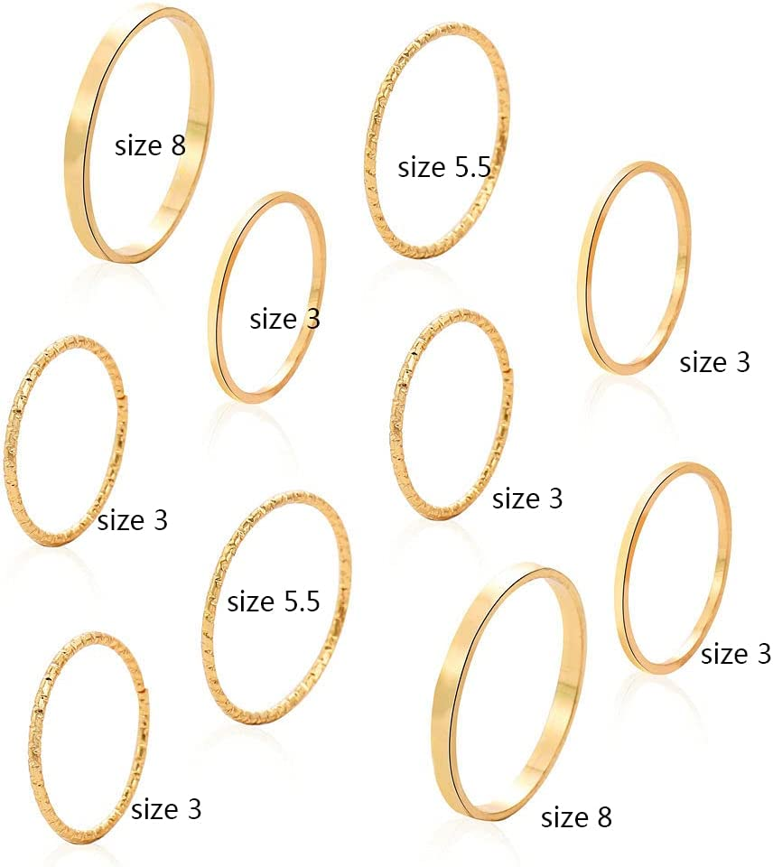 Asphire 10 Pcs Women's Stacking Joint Knuckle Rings Set Simple Thin Ring Band Vintage Finger Ring Pack Size 3-8 (Gold)