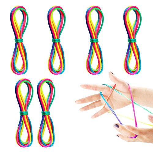 O-Kinee Cordón Arcoíris 12 Piezas Juegos y Juguetes de Habilidad de Dedos de Largo (12 Piezas)