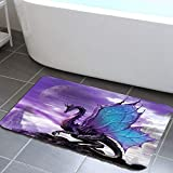 JHDF Mittelalterlichen Fantasie Bad teppiche für Bad lila Drachen badematte rutschfeste fußmatte Carpet für badewanne Bad 40 * 60 cm zubehör (Drache)