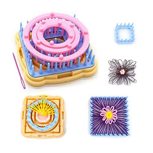 Telar de flores, juego de telares de tejer de 9 piezas Kits de artesanía de hilo de lana DIY Herramienta para calcetines Guantes Sombreros (A)
