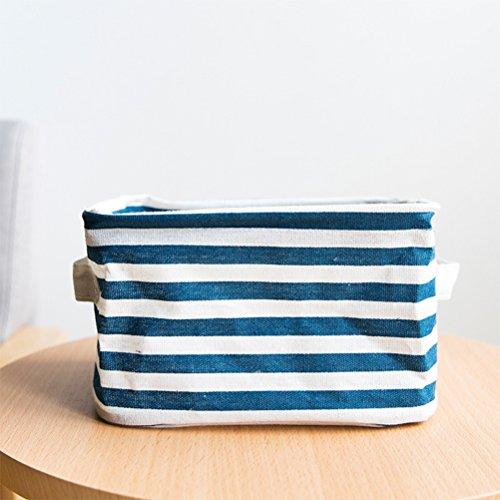 Qearly Super Cute Coton Lin Armoire Rangement Boîte Korbe Plastique Bleu foncé