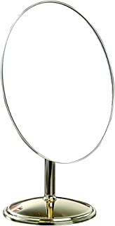XZPENG Vanity Mirror,Multi-angle Rotating Metal Desktop Single-sided Chrome Round Countertop Makeup Mirror for Bedroom Bathroom Home Shower (Color : Gold)