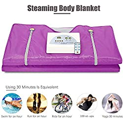 TOPQSC Sauna Blanket, 2 Zone Digital Far-Infrared (FIR) Oxford Upgraded Version Zipper Type Weight Loss, Professional Detox Therapy Anti Ageing Beauty Machine110V (Purple)