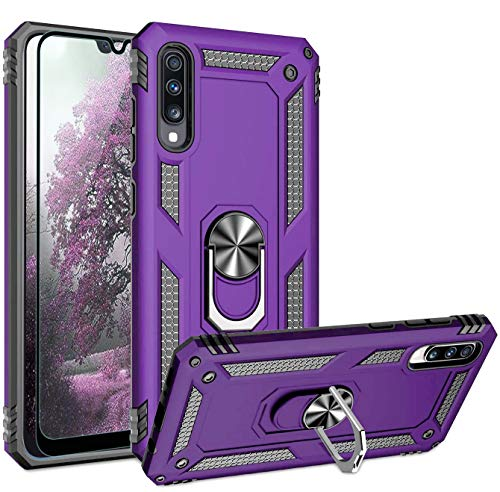 TJS Phone Case Compatible with Samsung Galaxy A50 2019, [Full Coverage Tempered Glass Screen Protector][Impact Resistant][Defender][Metal Ring][Magnetic Support] Heavy Duty Cover (Purple)