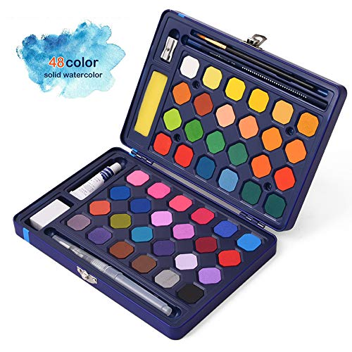 ADAXI Watercolor Paint, 48-Color Watercolor Paint Set Includes Watercolor Paper n Brush, Watercolor Palette, Brush Pen, Drawing Pencil Etc, a Handy Watercolor Set All Stored in an Iron Case for Kids