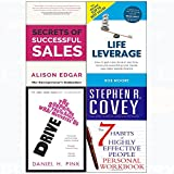 7 Habits of highly effective people personal workbook, secrets of successful sales, drive, life leverage 4 books collection set