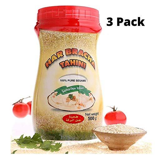 Har Bracha Tahini Paste (17.6 oz). 100% Natural, Vegan Friendly & Kosher Pure Ground Tahina Sauce. Raw Roasted Sesame Seeds for Oriental Dips, Salad Dressings & Hummus (3Pack)
