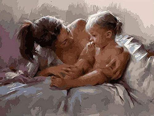Pintura por números para niños y adultos kit de pintura de bricolaje para principiantes pintura al óleo lienzo de lino preimpreso (sin marco) -Madre e hija en la cama