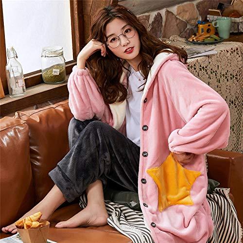 ASADVE Ropa de Invierno para Mujer Suelta Talla Grande con Capucha Albornoz Mujer Pijama Largo y cálido-Rosado_SG