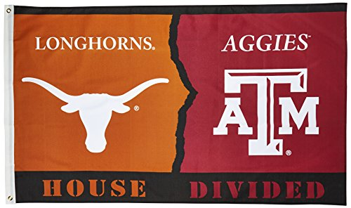 NCAA Texas Longhorns/Texas A&M Aggies 3' X 5' Foot Rivalry House Divided Flag with Grommets