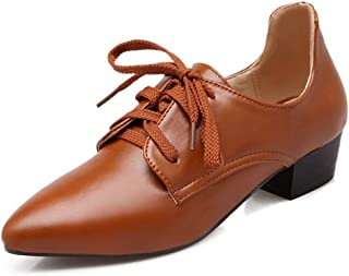 Bonrise Women's Pointed Toe Wingtip Oxford Shoes Lace-up Classic Casual Flat Low Heel Oxfords Brogues Loafers