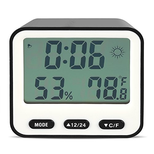 Despertador Digital LED Digital Alarma Despertador Reloj Alarma Reloj Despertador Niños con Pantalla LCD Tiempo Temperatura Humedad y Función de Temporizador (Black)