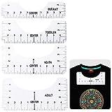 Portátiles Guía de Reglas de Camisetas, Speyang 4 Piezas Herramienta de Alineación de Camisetas, Regla de Calibración de Camisetas, Diseños de Sublimación de Alta Precisión Regla de Cuello Redondo