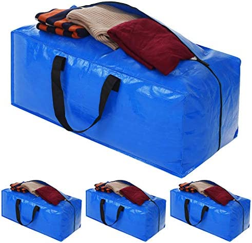 Heavy Duty Extra Large Storage Bags Blue Moving Bags Totes with Zippers for Clothing Comforter product image