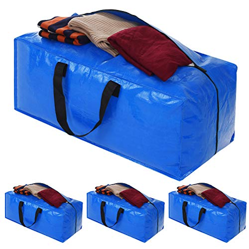 Heavy Duty Extra Large Storage Bags,Blue Moving Bags Totes with Zippers for Clothing Storage, Comforter Blankets, College Moving Supplies, Cloth Storage Bags Compatible with Ikea Frakta Cart, 4 Packs